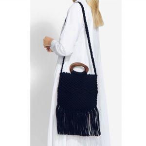 DANIELLE NICOLE Macramé Black Bag